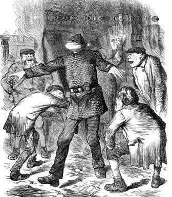 A blindfolded Victorian Police man being taunted by criminals.