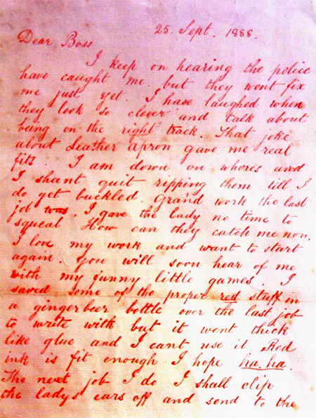 The letter purporting to come from the killer which was signed Jack the Ripper.