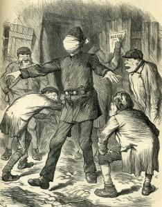 A blindfoled police officer surrounded by criminals.