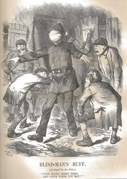 The Punch Cartoon Blind Mans Buff showing a blind-folded police officer being taunted by criminals.
