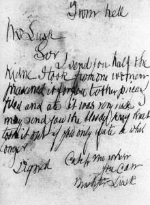 "The letter that was sent to Mr Lusk which was addressed ""From Hell"""