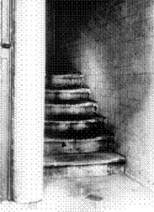 A photo of the foorway and staircase inside which the Juwes message was found scrawled on the wall.
