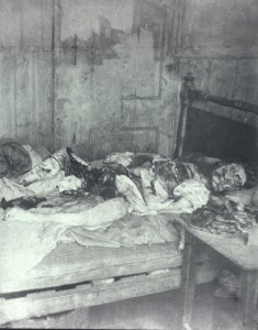 The body of Jack the Ripper's last victim Mary Kelly on her bed in Miller's Court.