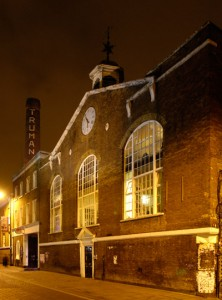The clock of the Truman Brewery on Brick Lane.