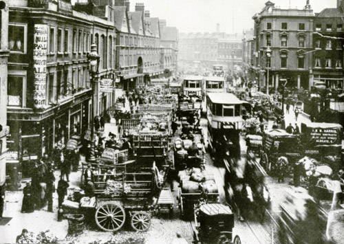 A view along Commercial Street as it would have appeared at the time of the Jack the Ripper murders.