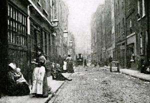 Looking along Dorset Street where Mary Kelly, Jack the Ripper's last victim, was murdered on 9th November 1888.