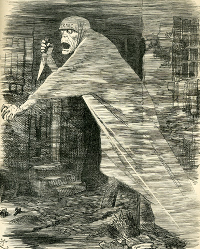 The famous Punch Cartoon that shows a knife wielding phantom drifting through the slums of London's East End.