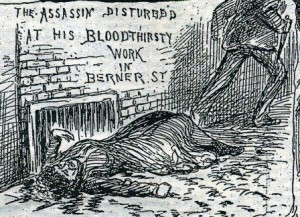 A sketch of the murderer escaping from Berner Street.