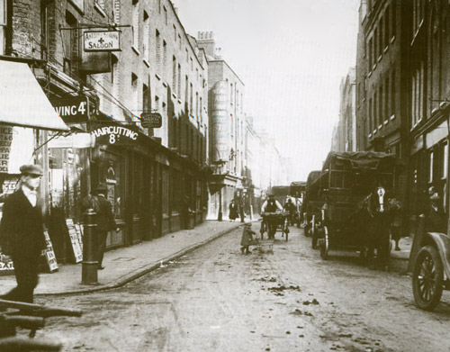 A photograph showing Hanbury Street as it was at the time of the murders.