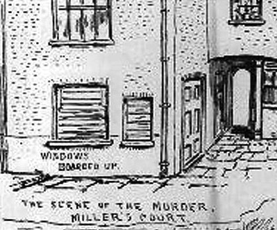 A pencil sketch showing Mary Kelly's room in Miller's Court.