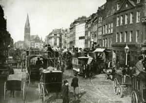 View view along Whitechapel High Street.