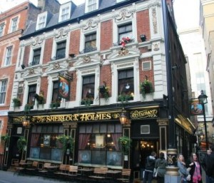 An exterior view of the Sherlock Holmes Pub on Northumberland Avenue.
