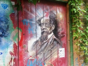 This portrait of Charles Dickens is on a wall in Spitalfields.