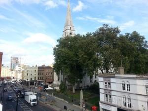 A view of Christchurch Spitalfields and the ten Bells Pub.