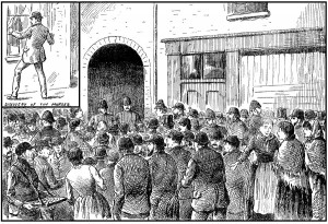 An illustration of the crowds outside Miller's Court on 9th November 1888.