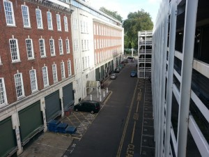 A view looking along the former Dorset Street as it appears in 2012.