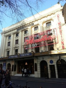 The exierior of the St Martin's Theatre where The Mousetrap is being staged.
