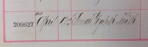 The record of Emm Smith's burial on 12th April 1888.