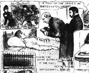 A press illustration showing Emma Smith lying in a hospital bed attended by Dr Haslip.
