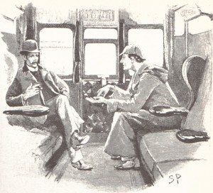 Sherlock Holmes and Dr Watson in a train carriage.