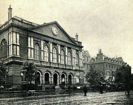 An exterior view of the London Hospital.