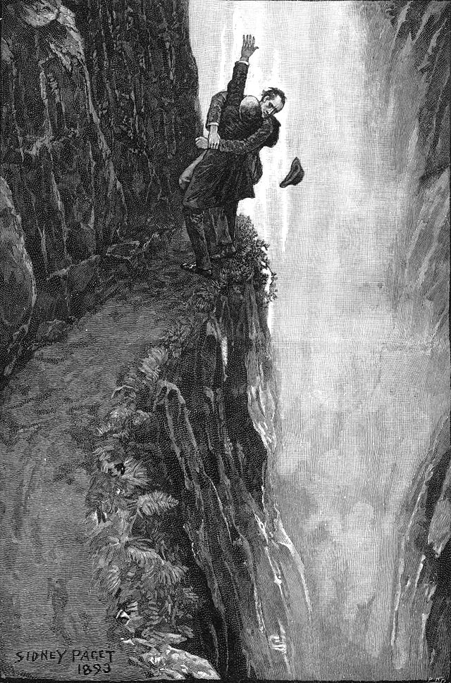 Holmes and Moriarty wrestle on the edge of the falls.