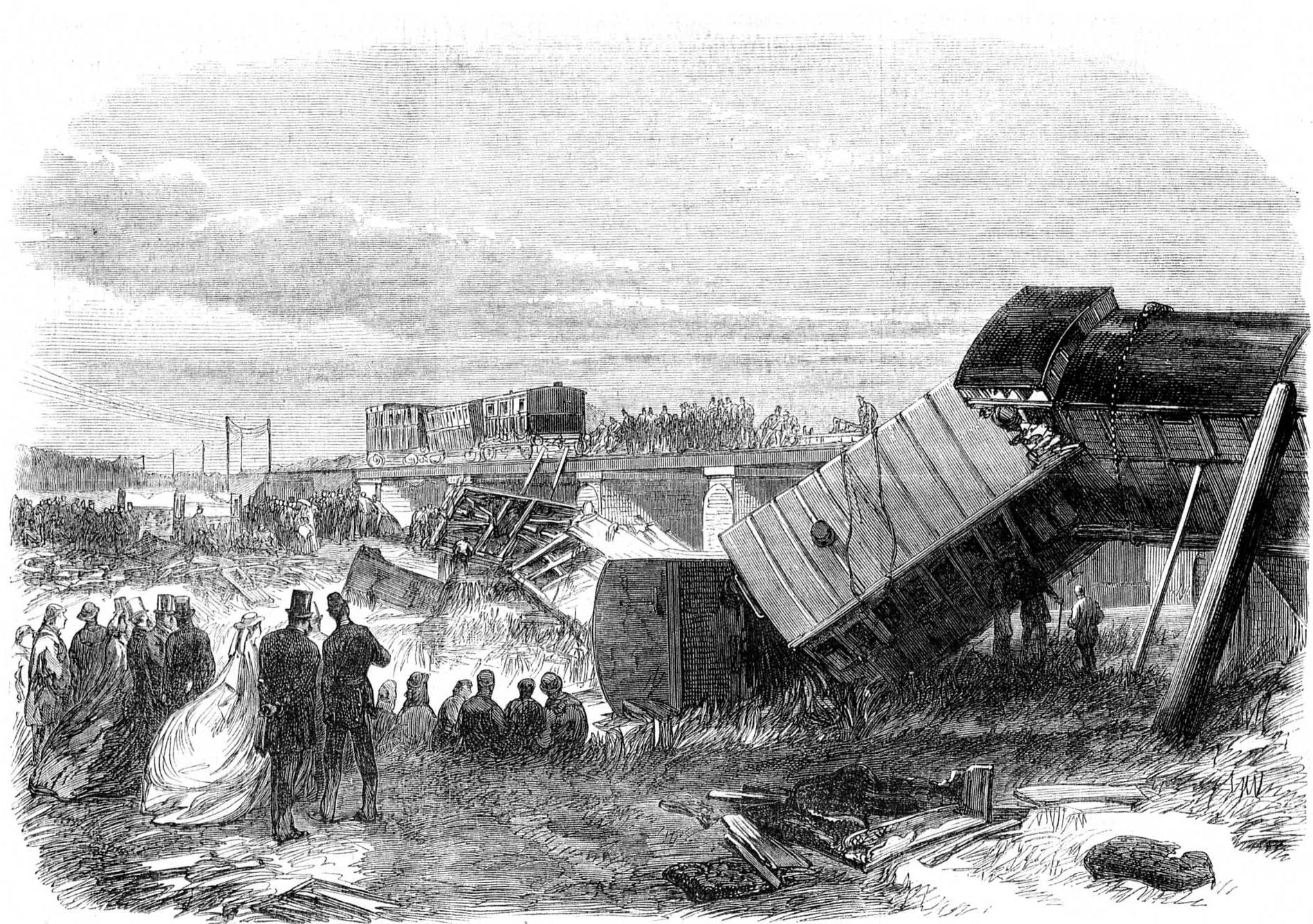Carriages from the Staplehurst rail crash lie scattered around the river bed.