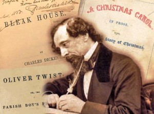 Dickens writing with book covers behind him/