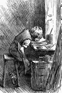 The boy Charles Dickens slumped over a bench at the blacking warehouse.