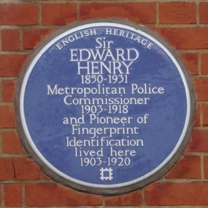 The blue plaque outside the home of Metropolitan Police Commissioner Sir Edward Henry.