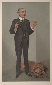 An image of Sir Edward Henry showing him with his pet dog.