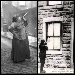 Mary Smith blowing on her pea shooter