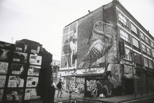 An image of a stork on a wall in the East End of London.