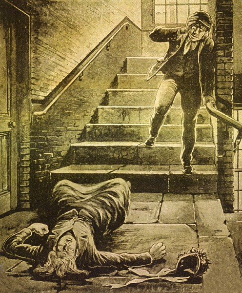 A press image of a man reacting at the sight of a body on the landing of George Yard Buildings.