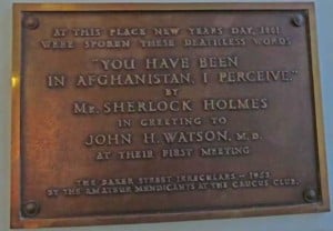The plaque commemorating the meeting between Holmes and Watson at Barts Hospital.