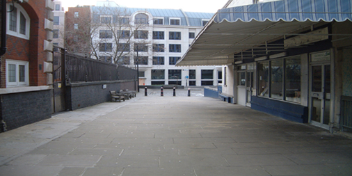 A view of Mitre Square looking towards the flower bed that marks the site of Catherine Eddowes murder.
