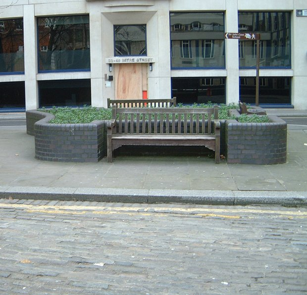 A view of the flower bed in the south west corner of Mitre Square.