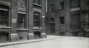 A view of the old builldings on the south east corner of Mitre Square.