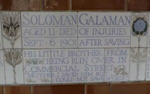 The plaque to Solomon Galaman in Postman's Park.