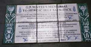 The information plaque on G.F. Watt's Memorial To Heroic Self Sacrifice.