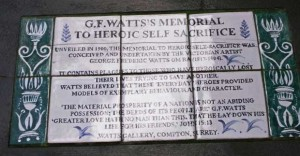 The ceramic tile giving information on the Watt's Memorial to heroiceself-sacrifice.