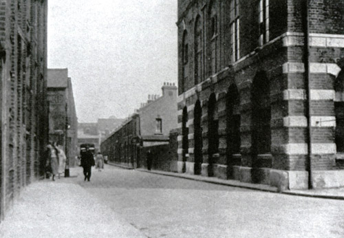 Looking along Buck's Row to the site where the murder took place.