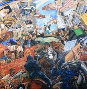 A street mural showing the Battle of Cable Street.