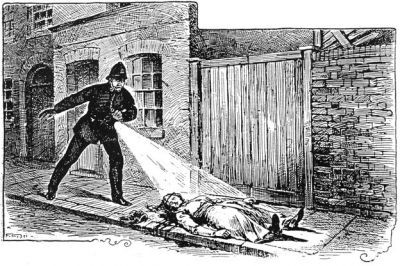 PC Neil shines his lamp onto the prone form of Mary Nichols.
