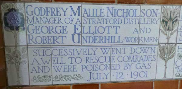 The memorial commemorating the sacrifice of Godfrey Nicholson and his fellow workers.