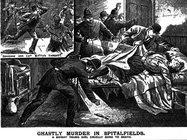 A press clipping from The Illustrated Police News showing the scene at the murder of Kate Ronan.