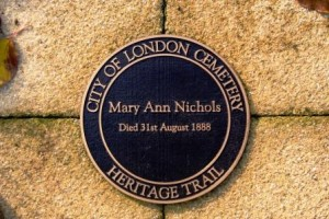 The blue plaque memeorial reading Mry Ann Nichols died 31st August 1888.