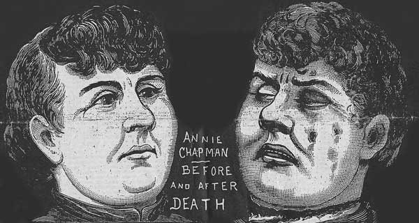A press illustration showing Annie Chapman before and after her murder.