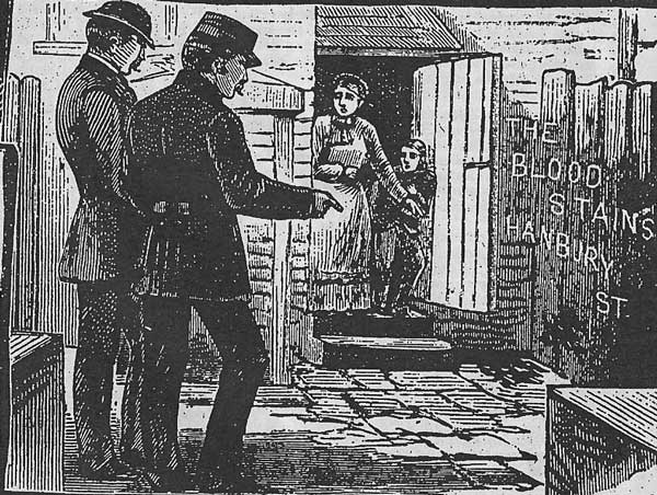 A press illustration showing police officers at the scene of the murder of Annie Chapman.