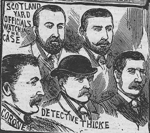 An illustration showing detectives on the Jack the Ripper case.
